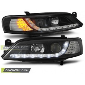 Koplamp set Opel Vectra B 11.96-12.98 Daylight Zwart LED knipperlicht