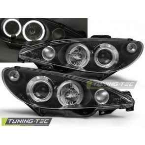 Koplamp set Peugeot 206 02- Angel Eyes Zwart