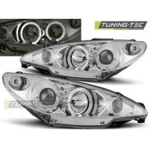 Koplamp set Peugeot 206 10.98-02 206 Angel Eyes Chroom