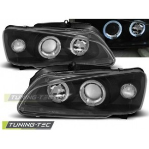 Koplamp set Peugeot 106 08.96-03 Angel Eyes Zwart