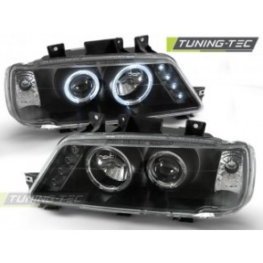 Koplamp set Peugeot 405 09.87-12.96 Angel Eyes Zwart