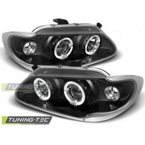 Koplamp set Renault Megane / Scenic 96-99 Angel Eyes Zwart