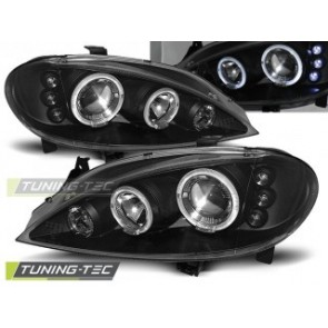 Koplamp set Renault Megane 03.99-10.02 Angel Eyes Zwart