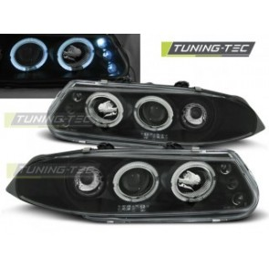 Koplamp set Rover 200 11.95-01.00 Angel Eyes Zwart