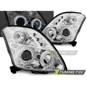 Koplamp set Suzuki Swift 05.05-10 Angel Eyes Chroom