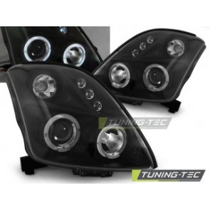 Koplamp set Suzuki Swift 05.05-10 Angel Eyes Zwart
