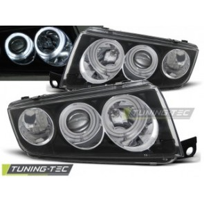 Koplamp set Skoda Fabia 1 12.99-08 Angel Eyes Zwart