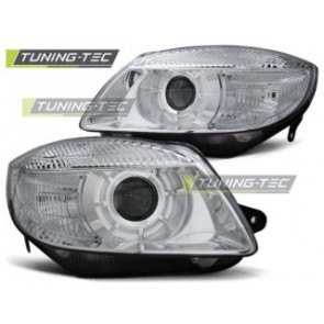 Koplamp set Skoda Fabia 07-03.10, Roomster 06-03.10 Lens Chroom