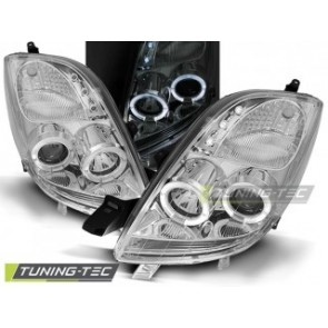 Koplamp set Toyota Yaris 06-09 Angel Eyes Chroom