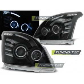 Koplamp set Toyota Land Cruiser 120 03-09 Angel Eyes Zwart