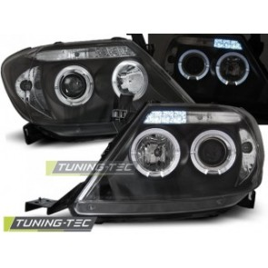 Koplamp set Toyota Hilux 05-11 Angel Eyes Zwart