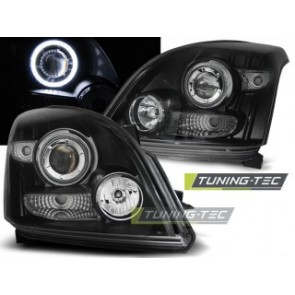 Koplamp set Toyota Land Cruiser 120 03-09 Angel Eyes Zwart Ccfl