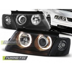 Koplamp set Vw Passat B5 3 B 11.96-08.00 Angel Eyes Zwart