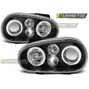Koplamp set Vw Golf 4 09.97-09.03 Angel Eyes Zwart