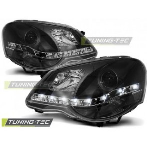 Koplamp set Vw Polo 9 N3 04.05-09 Daylight Zwart