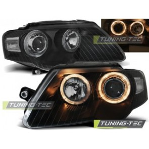 Koplamp set Vw Passat B6 3 C 03.05-10 Angel Eyes Zwart