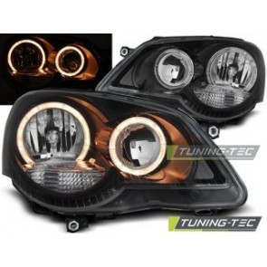 Koplamp set Vw Polo 9 N3 04.05-09 Angel Eyes Zwart