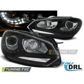 Koplamp set Vw Golf 6 10.08-12 Daylight Zwart Tru Drl