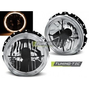 Koplamp set Vw Golf 1 05.74-07.83 Angel Eyes Chroom Zwart Cross Buitenzijde