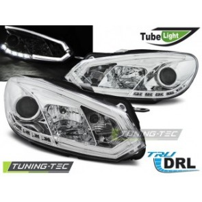Koplamp set Vw Golf 6 10.08-12 Chroom Tube Lights Tru Drl