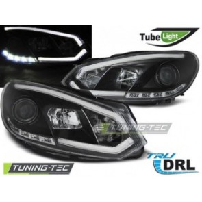 Koplamp set Vw Golf 6 10.08-12 Zwart Tube Lights Tru Drl