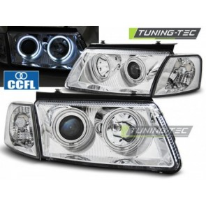 Koplamp set Vw Passat B5 3 B 11.96-08.00 Angel Eyes Ccfl Chroom