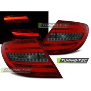 LED Achterlicht setje Mercedes C- Klasse W204 Sedan 07-10 Rood Getint Led Bar