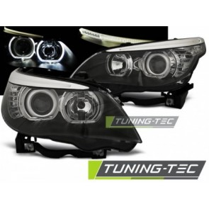 Projector koplampen - BMW E60/E61 2003 tot 2007 LED ANGEL EYES H7/H7 Zwart